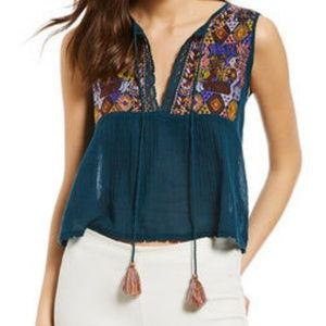 NWT Free People Lohri Embroidered Top